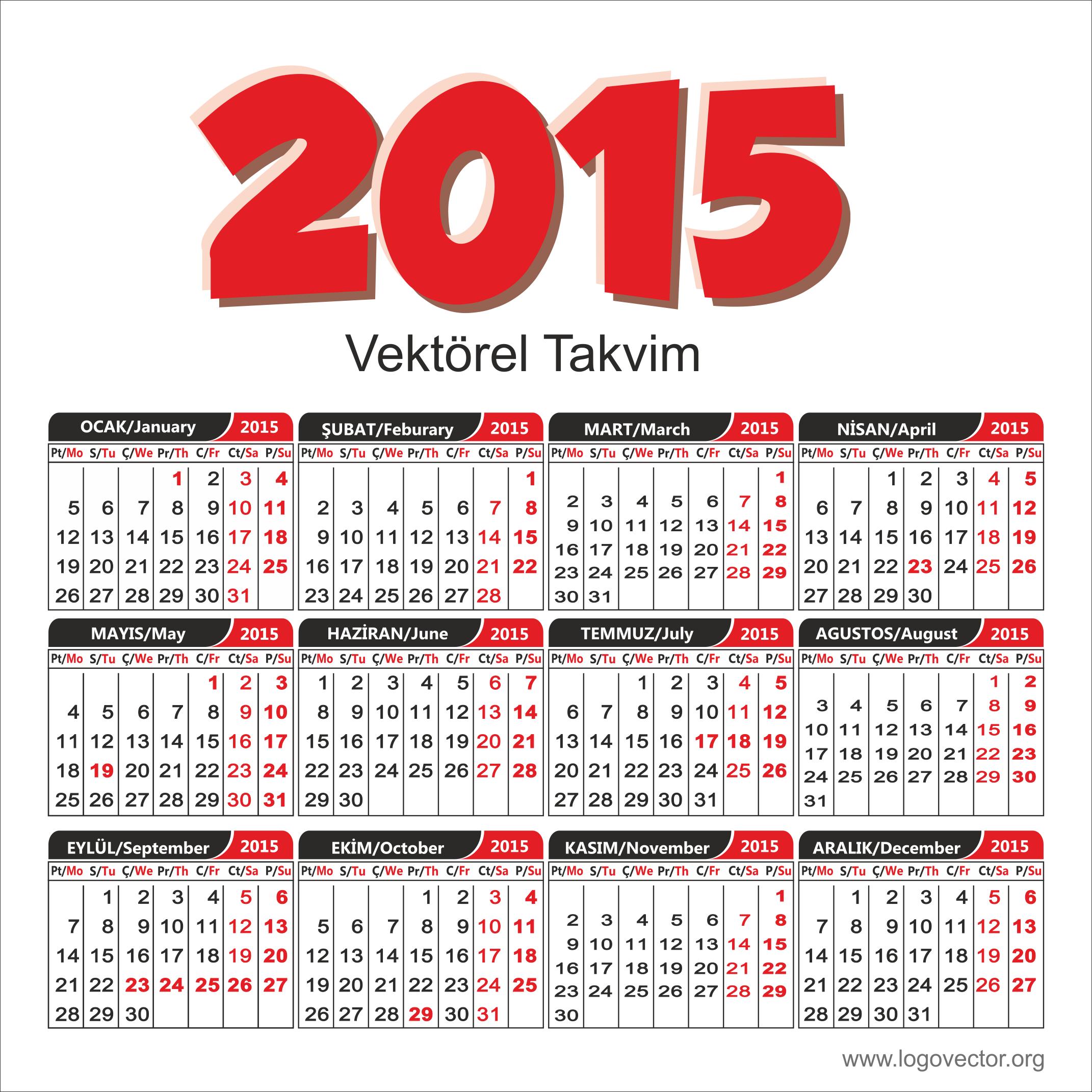 2019 Takvimi Vektörel çizim